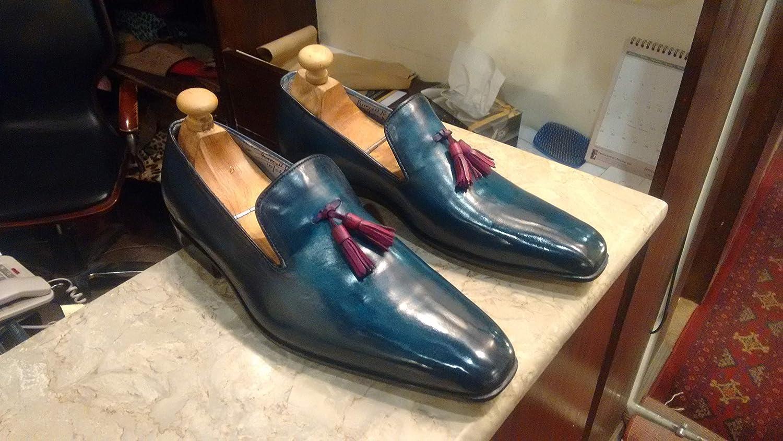 Handmade Blue Patina Tassel Loafers