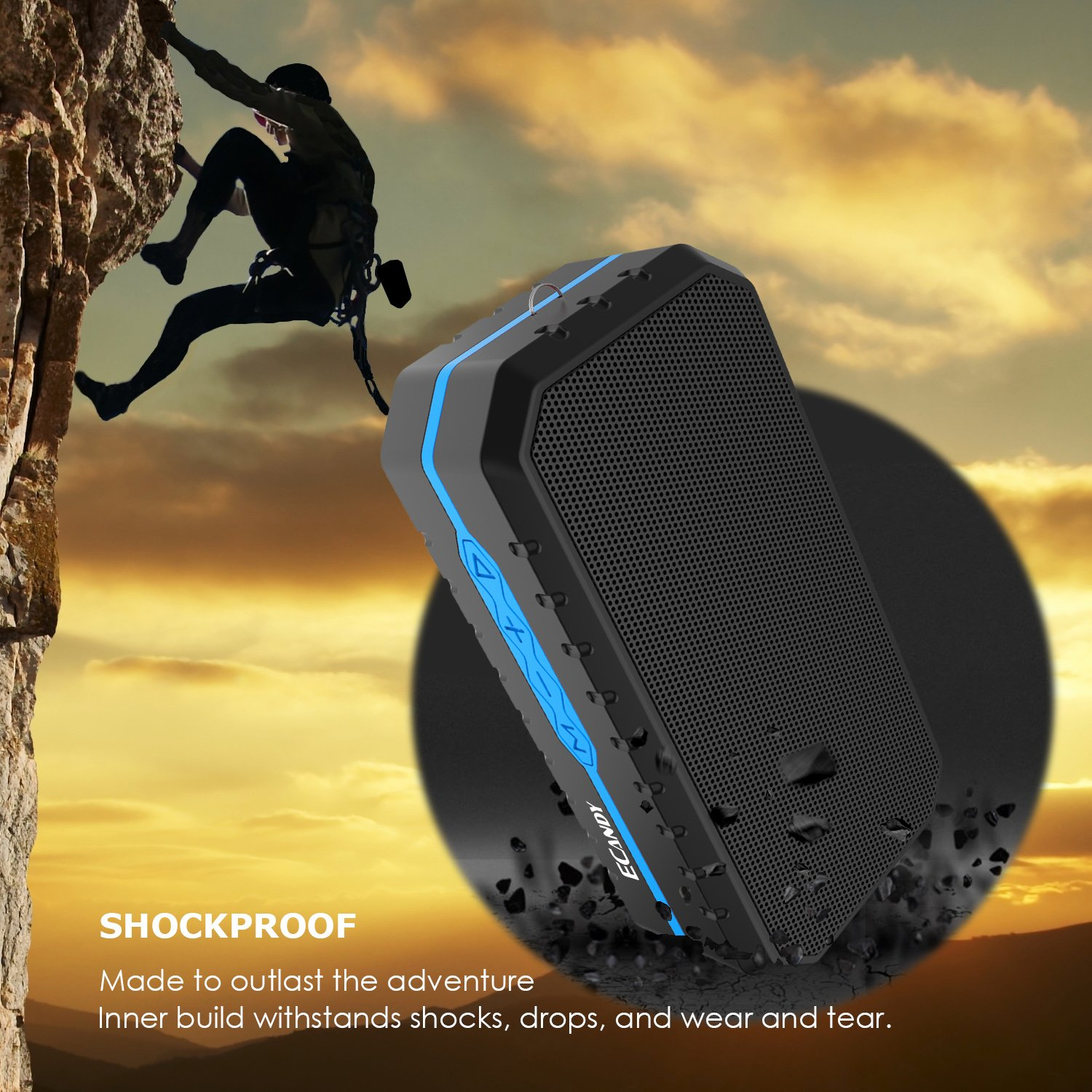 Ecandy Waterproof Wireless Speakers,Unbreak waterproof Shockproof Bluetooth Stereo Speakers,Outdoor Speakers for Climbing,Cycling, Hiking (Black/Blue)