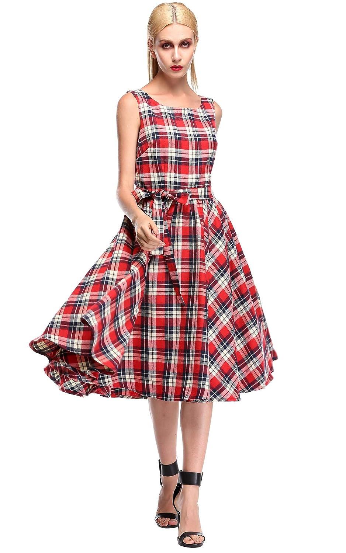 ACEVOG Damen Kleid Retro Schlank Gitter mit Gürtel Cocktail Swing Ärmellos Sommerkleid