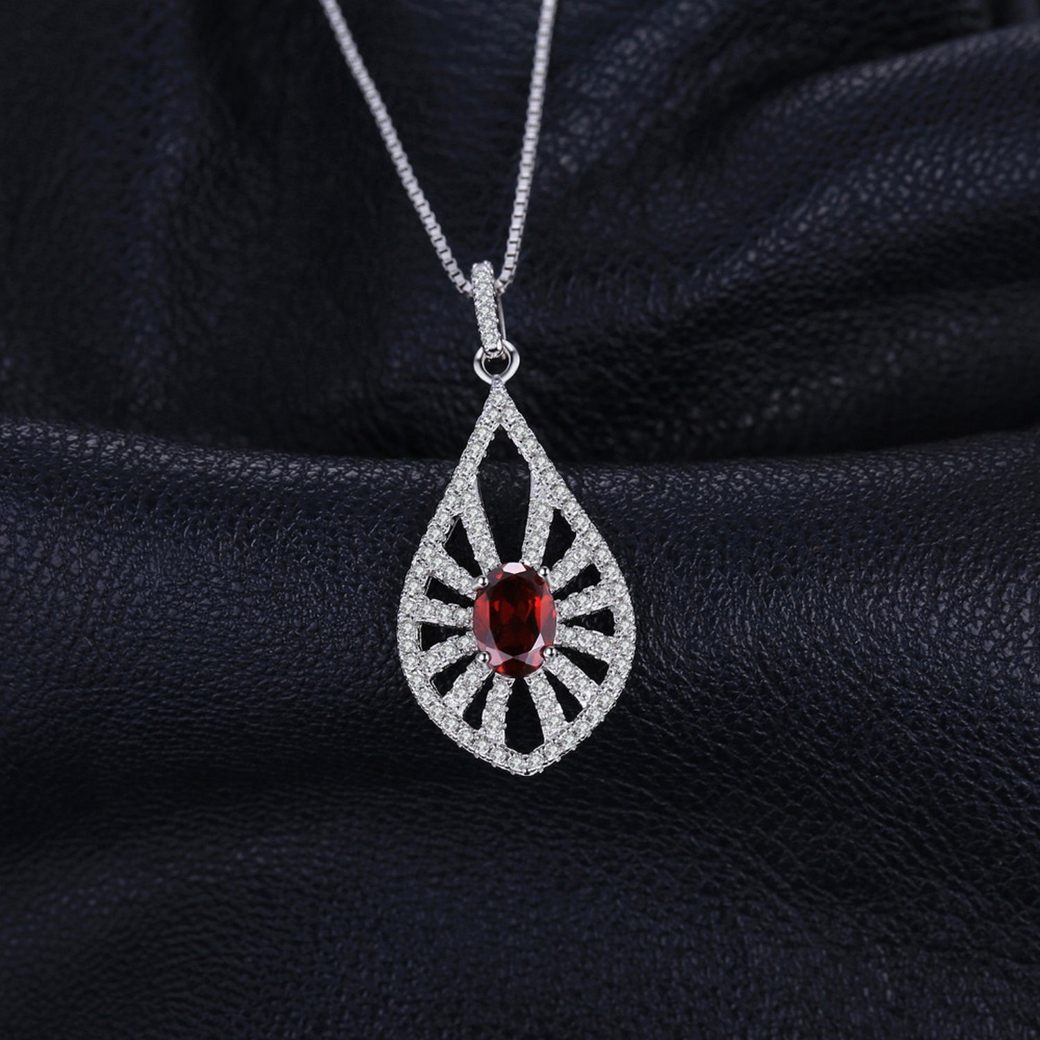 CS-DB Jewelry Silver Carved 1.46ct Genuine Garnet Chain Charm Pendants Necklaces