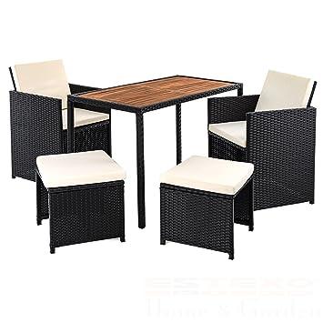 Polyrattan Gartenset Für 4 Personen, Set, Schwarz, Rattan Sitzgruppe,  Tischplatte Aus Akazienholz