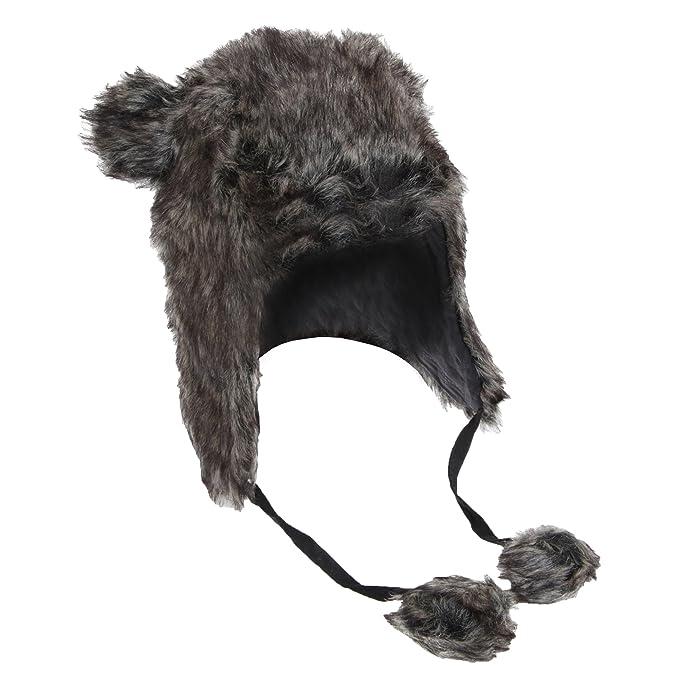 Gorro térmico de pelo modelo Perú estilo cazador con pompón y orejas (57 cm/