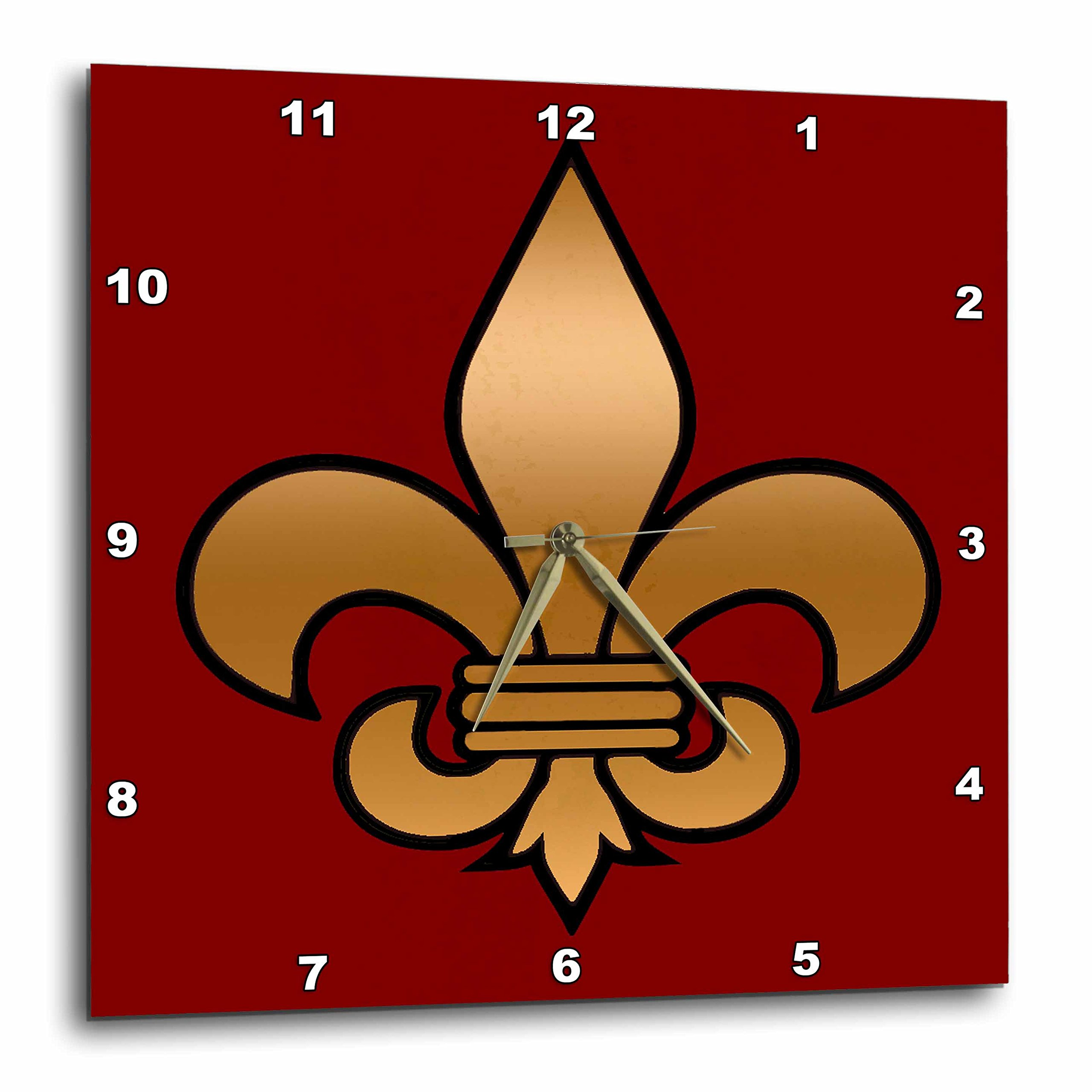 3dRose dpp_30760_3 Large Black & Gold Fleur De Lis on Maroon Background Christian Symbol Wall Clock, 15 by 15''