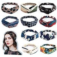 LZHOO 10 pièces Bandeau,Coton Floral Imprimé Turban Cheveux Wrap Hairband,Cheveux élastique pour Femme Cheveux Accessoire