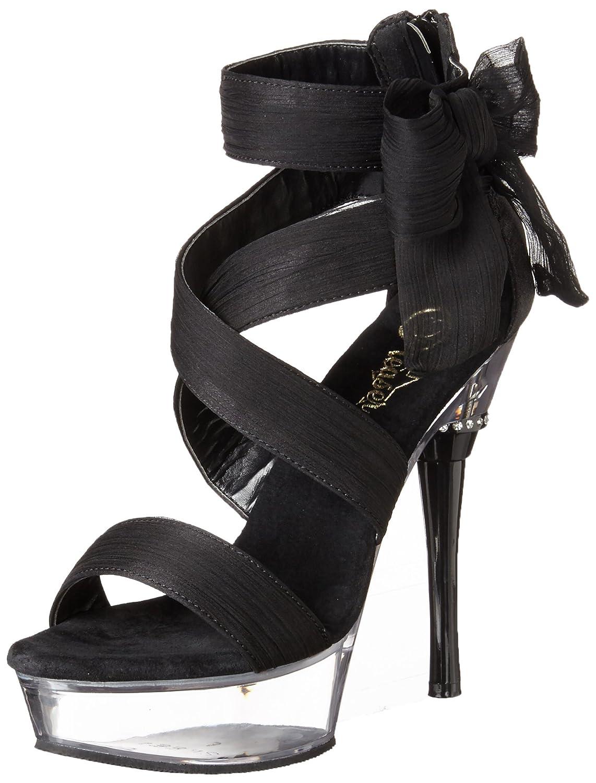 Pleaser Women's Allure-664/BCF/C Platform Sandal B00B470WJM 10 B(M) US|Black Chiffon/Clear