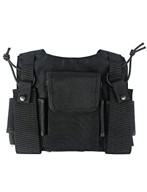 Lewong Radio Carry Case Chest Pocket Universal Bag Holster for Two Way Radio (Color: black)