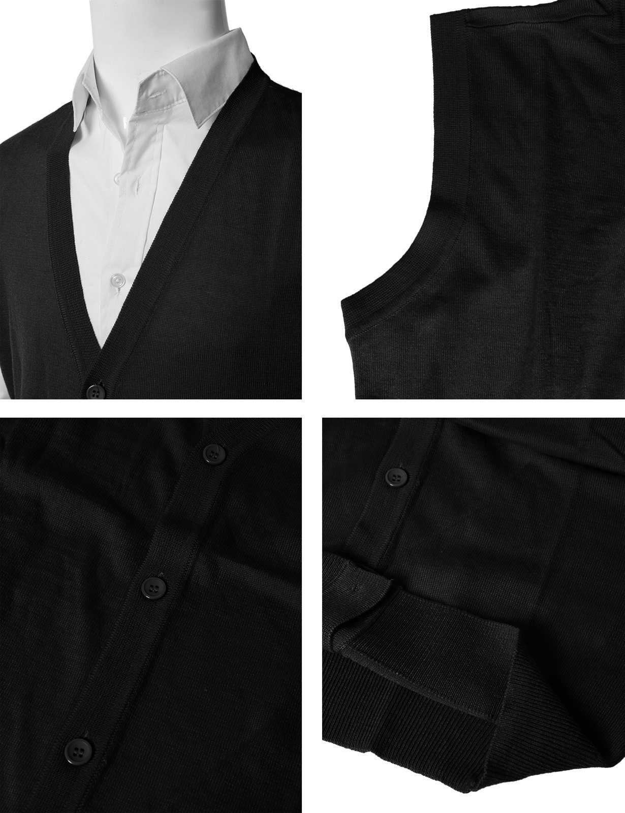 5967a6ca3a H2H Mens Casual Fitted Knitted V-Neck Button-Down Vests Black US M Asia L  (CMOV038)