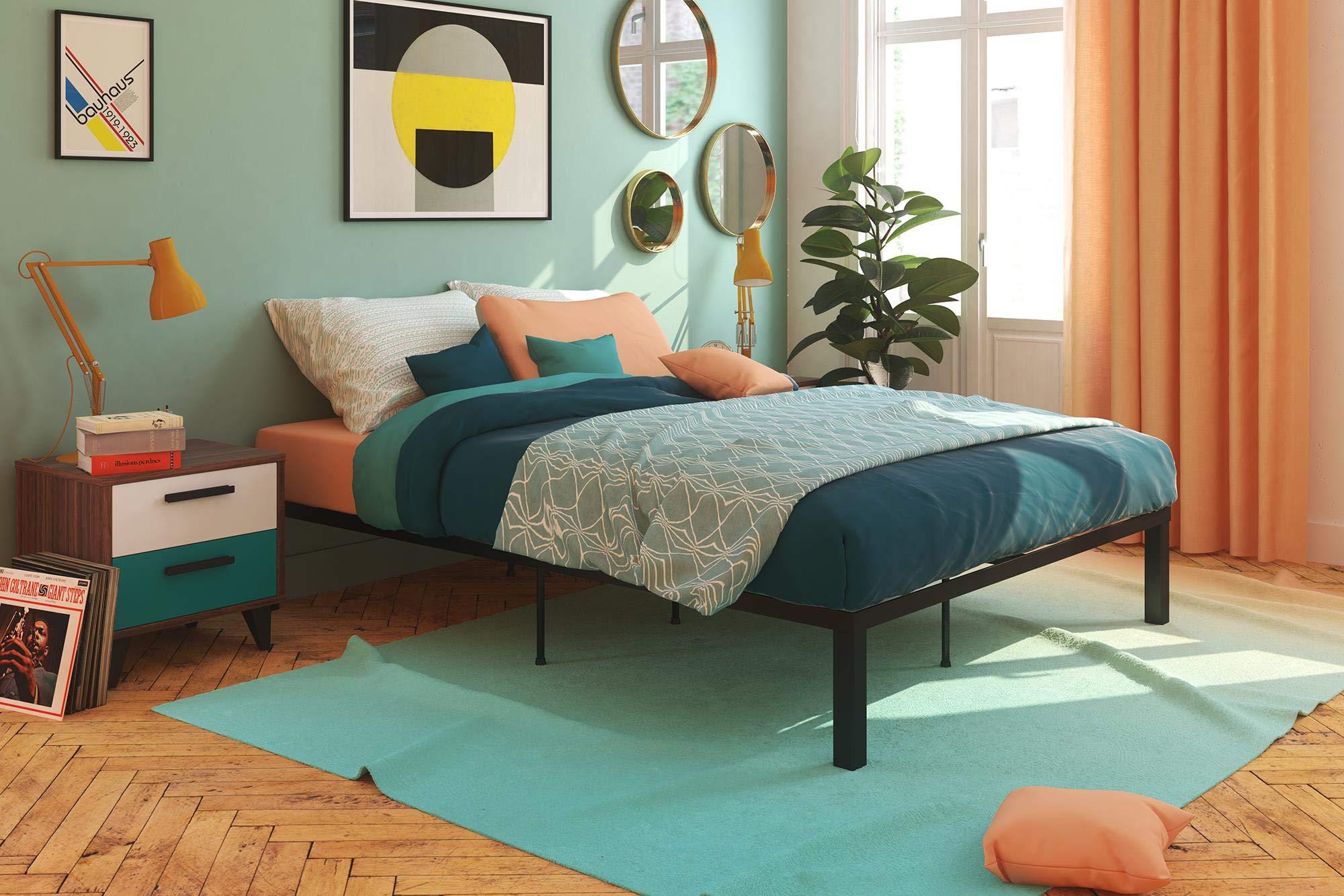 Signature Sleep DZ51122 Ultra Comfort Platform Euro Wood Slats: Queen Black Bed with Storage
