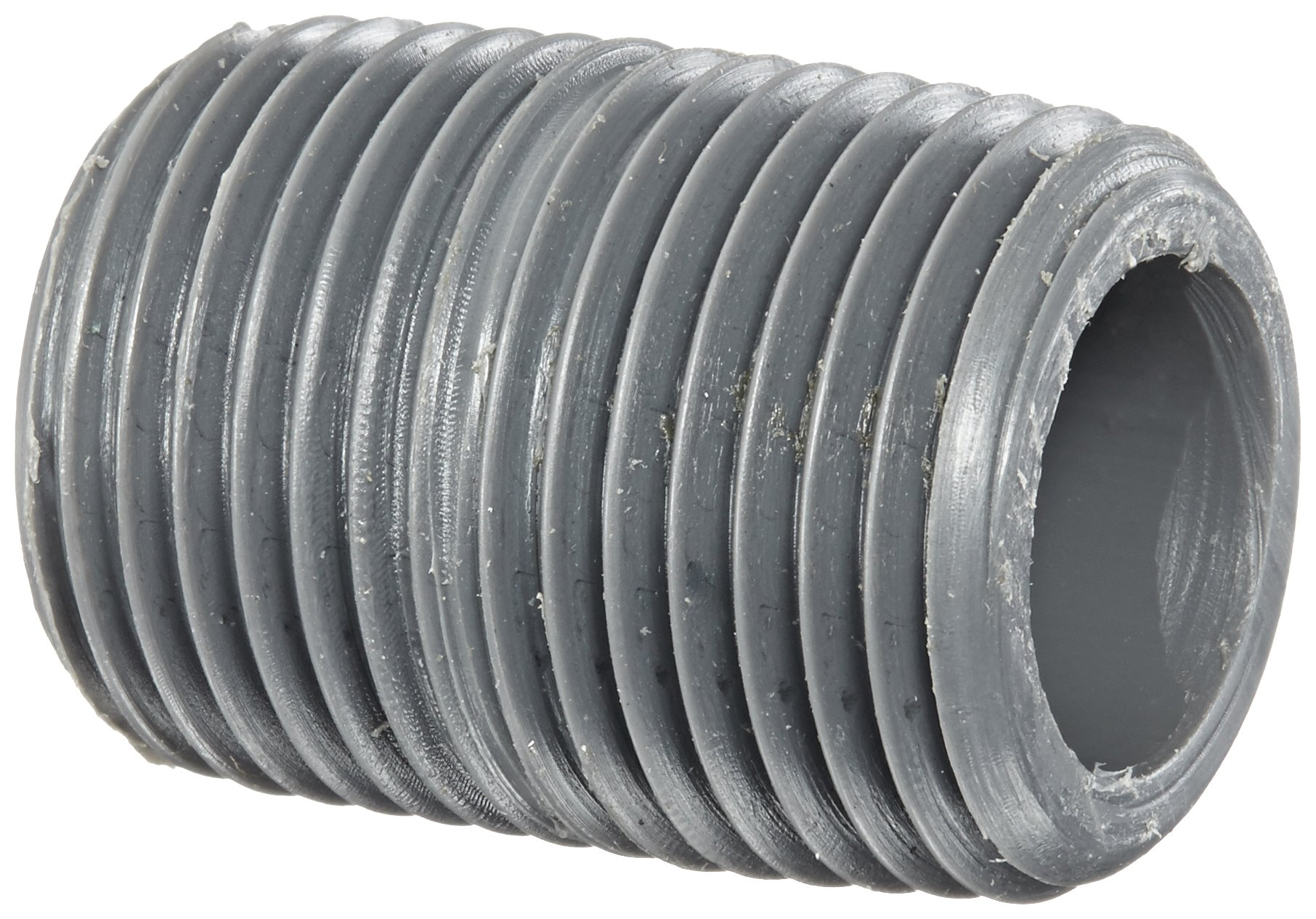 GF Piping Systems CPVC Pipe Fitting, Close Nipple, Schedule 80, Gray, 1/2'' NPT Male, 1-1/8'' Length