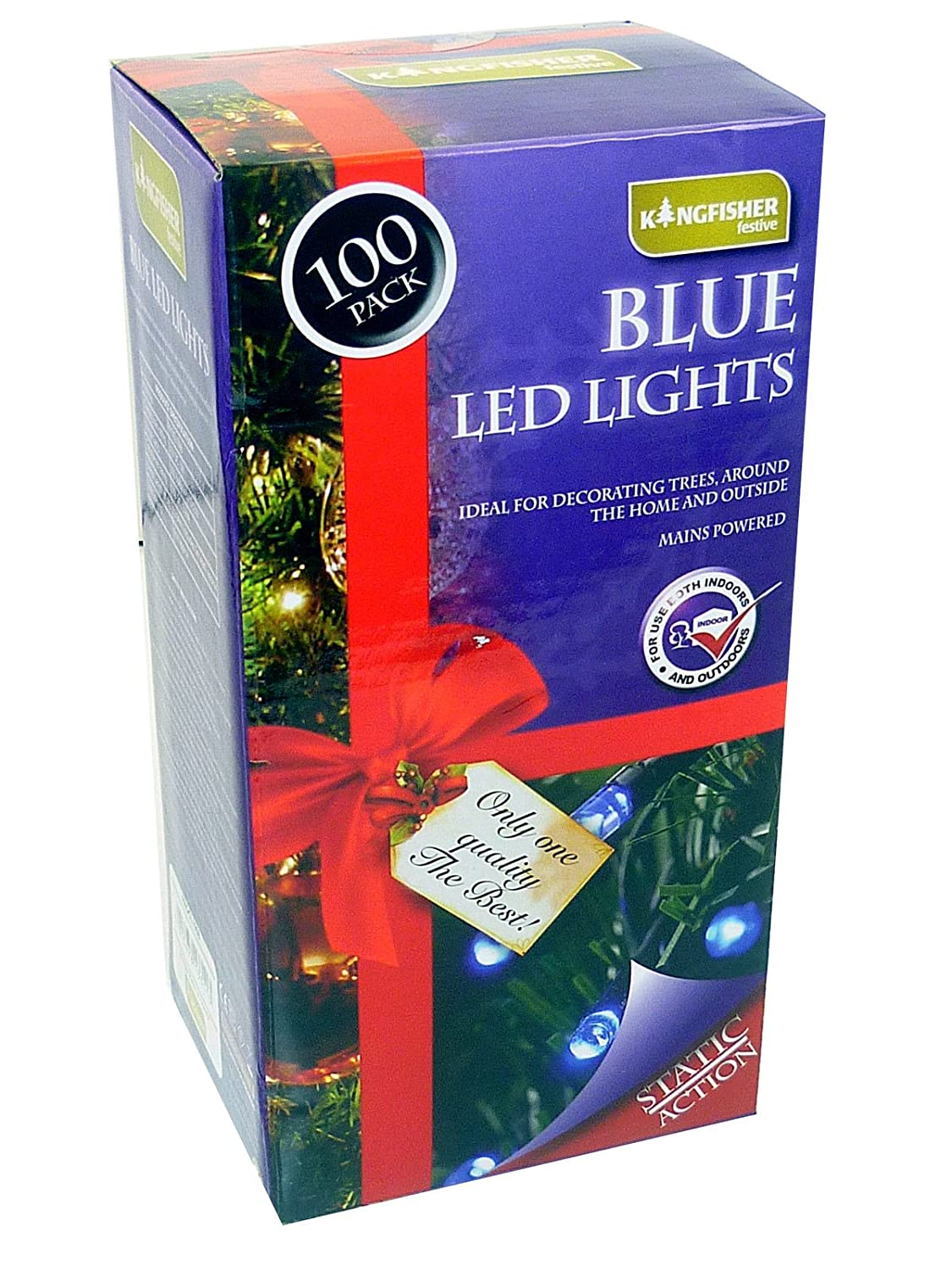 100 Outdoor Static LED Christmas Lights in Blue: Amazon.co.uk ...