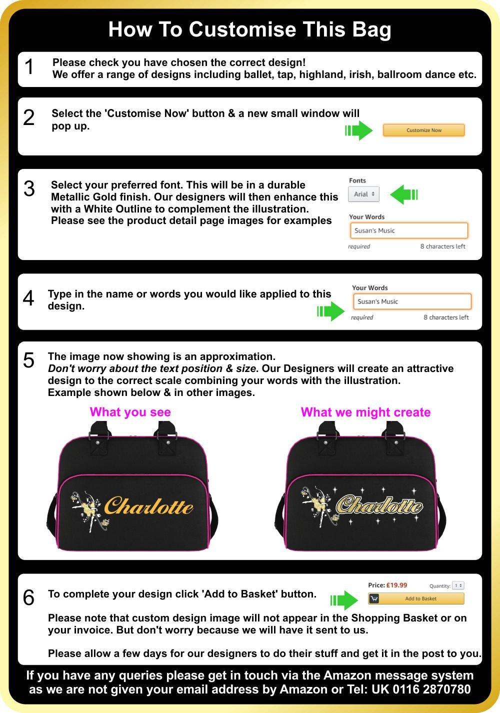 MusicaliTee Scottish Highland Dancing Personalised Custom Dance Bag /& Drawstring Shoe Backpack Fling /& Swords