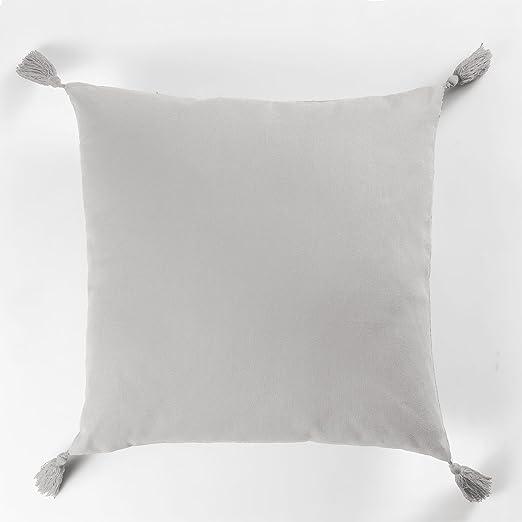 CDaffaires cojín ribetes + Pompones 40 x 40 cm algodón uni ...