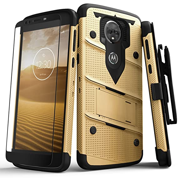 Zizo Bolt Series Compatible with Motorola Moto e5 Supra Case Military Grade Drop Tested with Tempered Glass Screen Protector Holster e5 Plus Gold