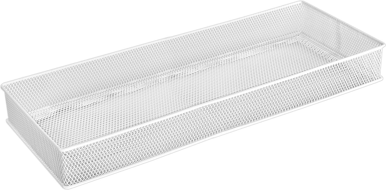 YBM Home White Mesh Drawer Organizer and Storage for Kitchen Drawers, Serves as School Supply Holder, Office Desktop Organizer Basket, and Craft Supplies Organization, (1-Unit, 6x15x2 Inch)