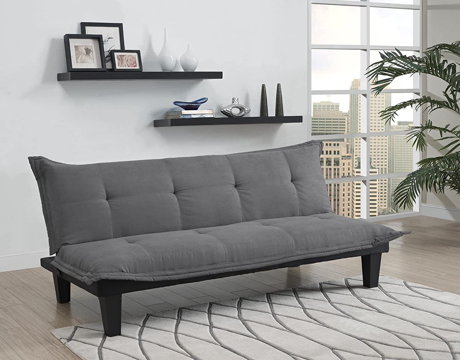 dhp lodge convertible futon couch bed with microfiber upholstery and wood legs charcoal