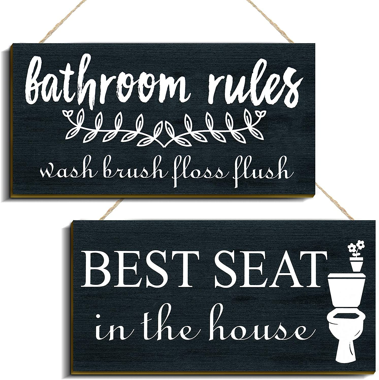 Jetec 2 Pieces Funny Bathroom Wall Decor Signs Rustic Bathroom Rules Prints Sign Best Seat Farmhouse Bathroom Decor Vintage Wooden Decoration for Home Bathroom Wall Decor, 12 x 6 inch