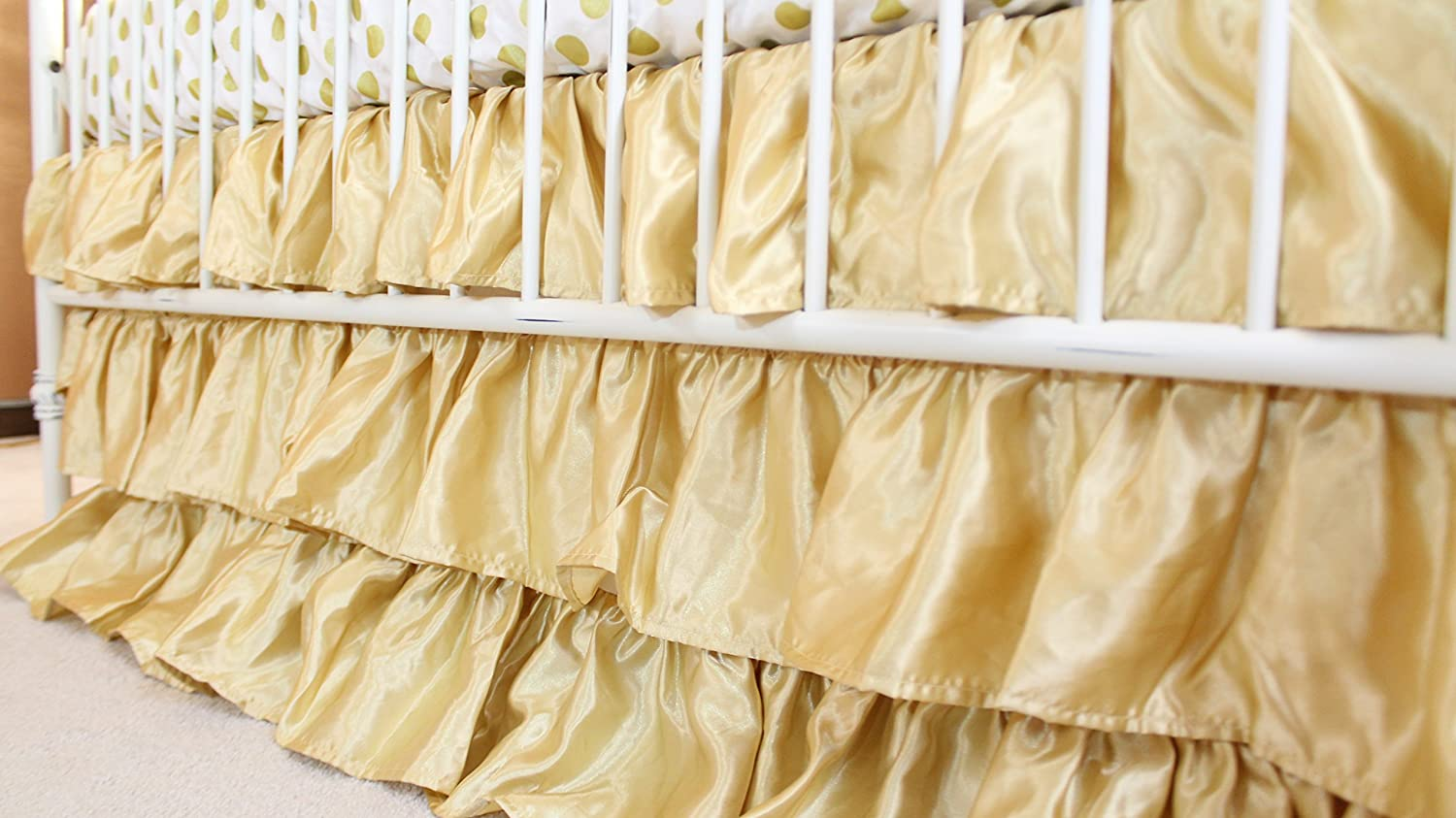 Solid 3 Tiered Ruffled Satin Crib Skirt - Fits standard cribs (Gold) Bold Bedding