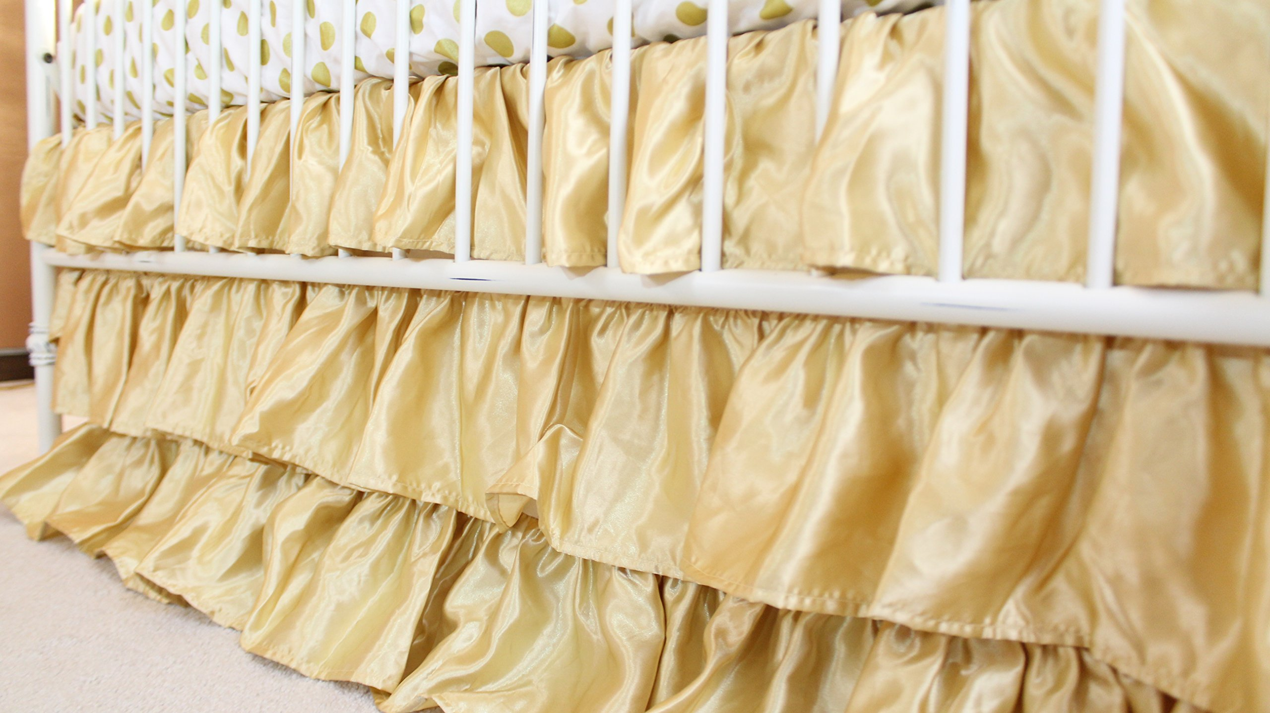 Solid 3 Tiered Ruffled Satin Crib Skirt - Fits Standard Cribs (Gold) by Bold Bedding
