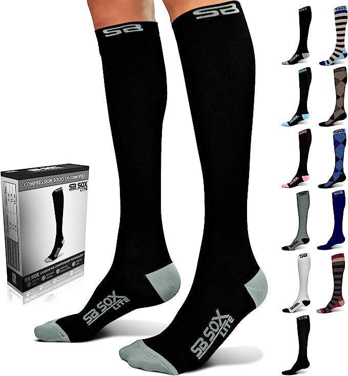 pair of black compression socks