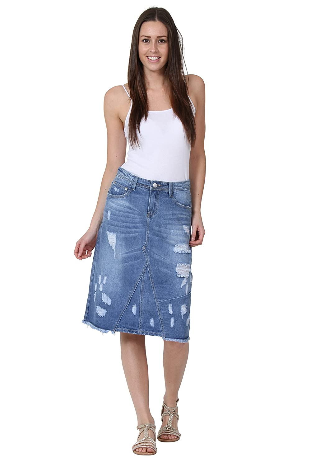Distressed Denim Skirt Destroyed Denim Midi Skirt Frayed Hem