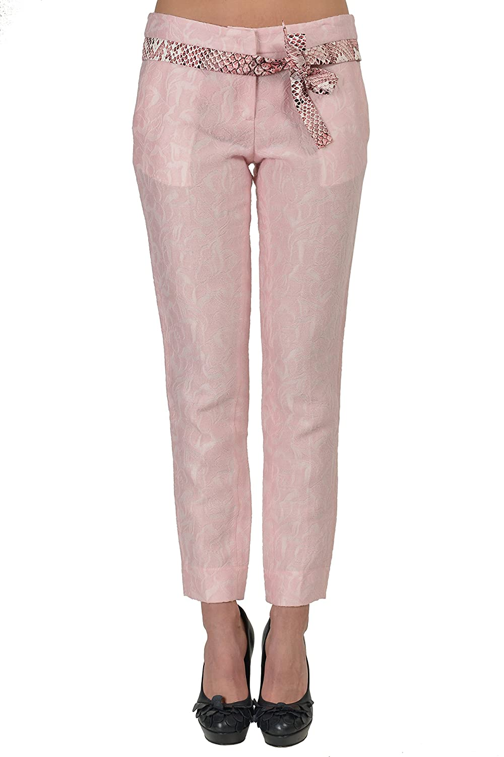 Just Cavalli Wool Light Pink Belted Women's Casual Pants US 4 IT 40