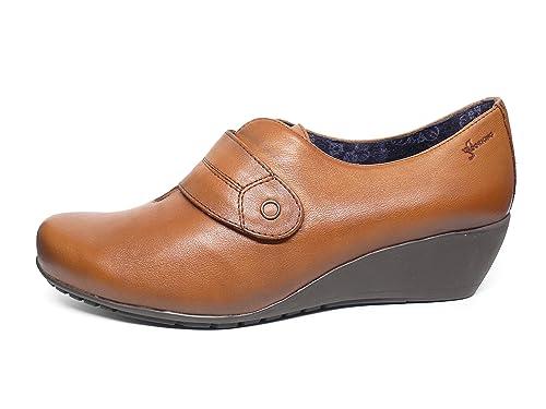 Zapatos cuña mujer DORKING-FLUCHOS - Piel color Cuero cierre velcro - 6573 - 62