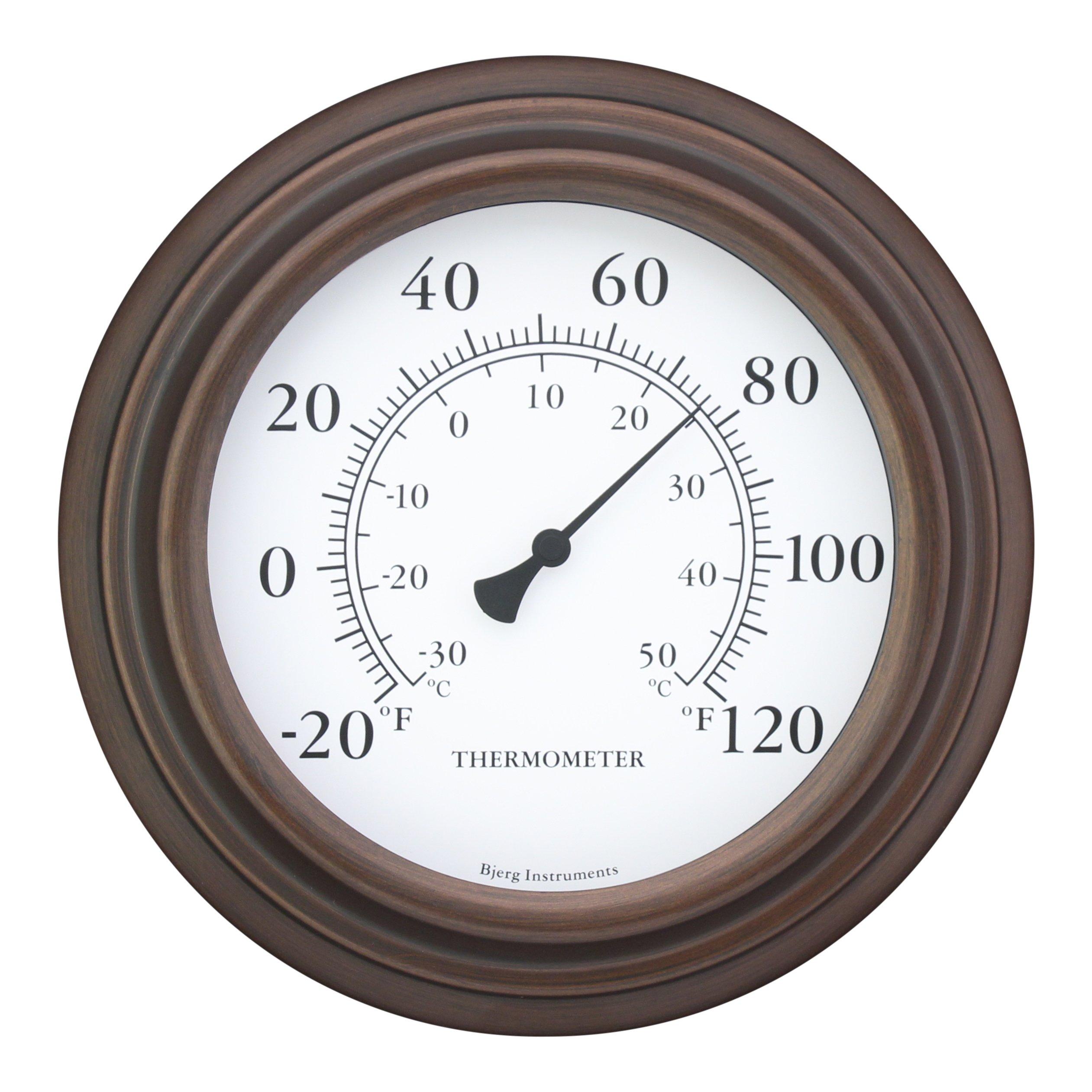 8'' Decorative Indoor / Outdoor Patio Wall Thermometer (Bronze)