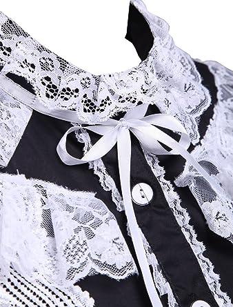 an tai na  Negra Algodón Encaje Volantes Retro Victoriana Lolita Maid  Camisa Blusa de Mujer  Amazon.es  Ropa y accesorios 151aebdb187
