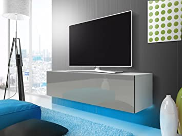 Tv Schrank Lowboard Hangeboard Simple Mit Led Blau Weiss Matt Grau Hochglanz 160 Cm