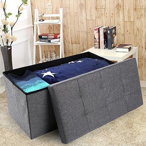 Epeanhome Storage Ottoman,Folding Storage Bench, Linen Like Fabric Foldable  Stool Thickening Sponge