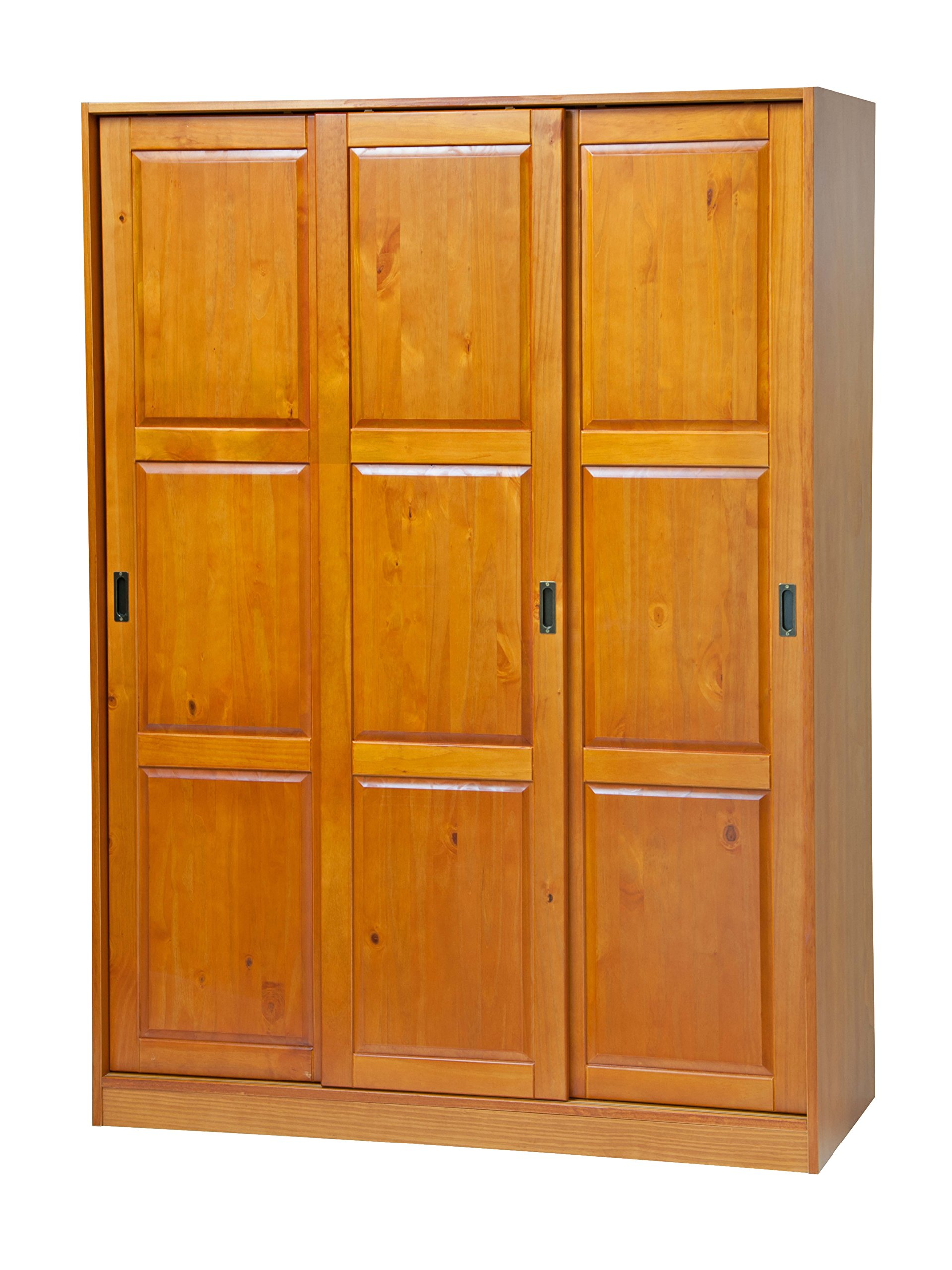 100% Solid Wood 3-Sliding Door Wardrobe/Armoire/Closet or Mudroom Storage by Palace Imports, Honey Pine. 1 Large/4 Small Shelves, 1 Rod Included. Extra Large Shelves Sold Separately. Requires Assembly by Palace Imports