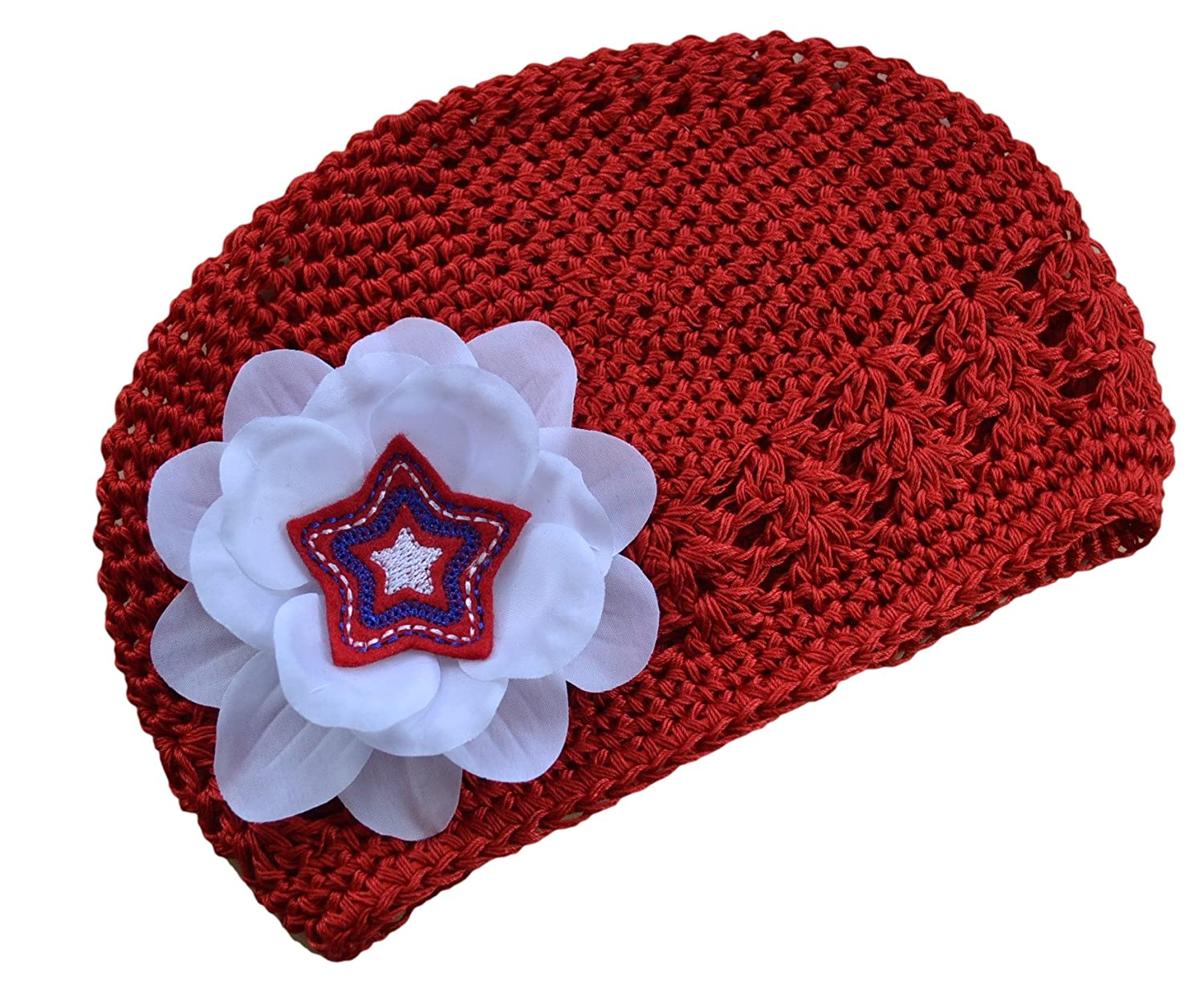 Funny Girl Designs USA 4th of July Star Flower Hat for Babies and Toddlers