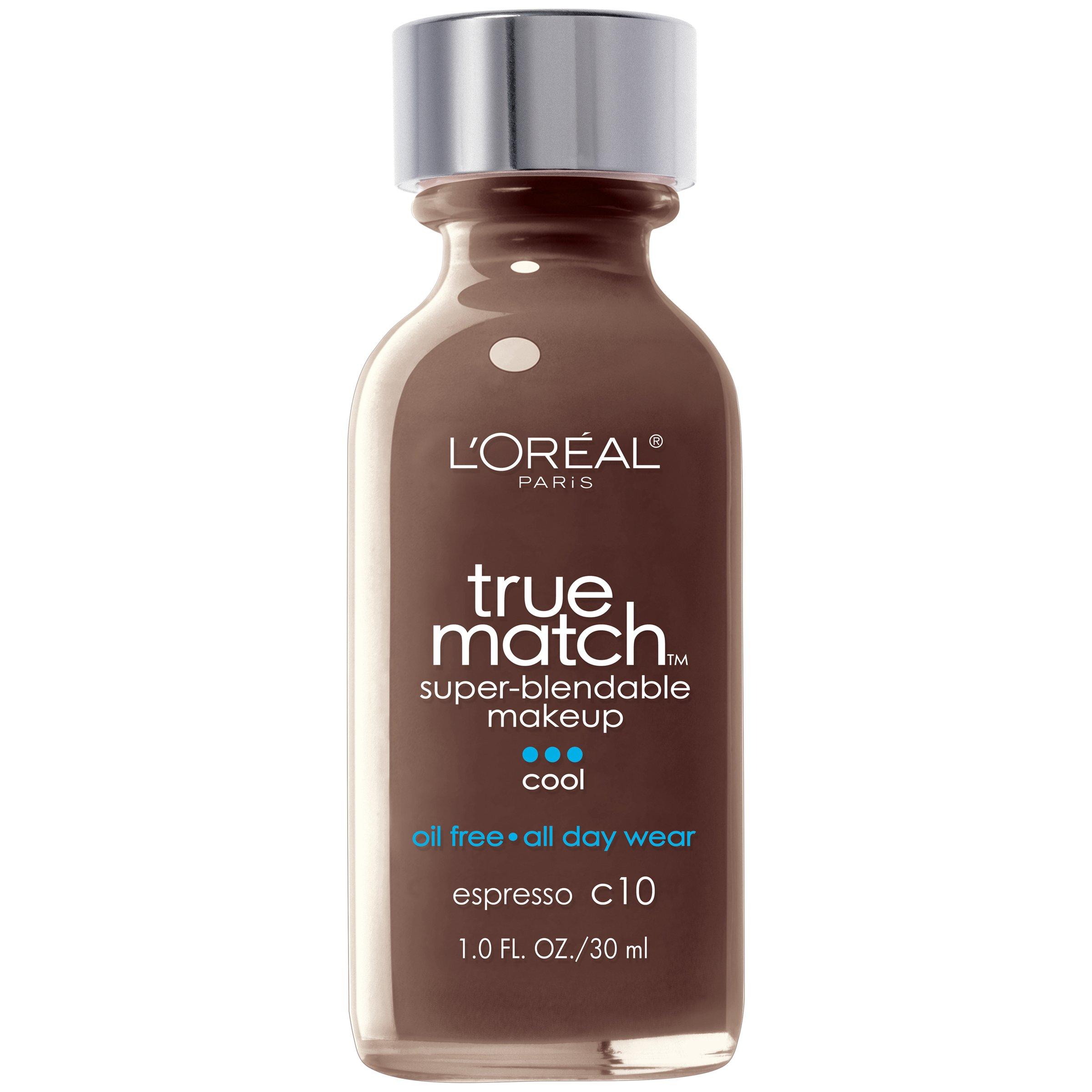 L'Oreal Paris Makeup True Match Super-Blendable Liquid Foundation, Espresso C10, 1 Fl Oz,1 Count