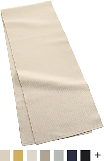 Mahogany Solid Color 100 Percent Cotton Ribbed Table Runner, 13 Inch By