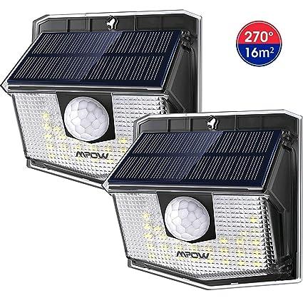 Mpow Luz Solar de Exterior de 3-8M Detección,Lámpara Solar 270° Ángulo de Iluminación, PIR Sensor de Movimiento, Impermeable IP65, Fácil de ...