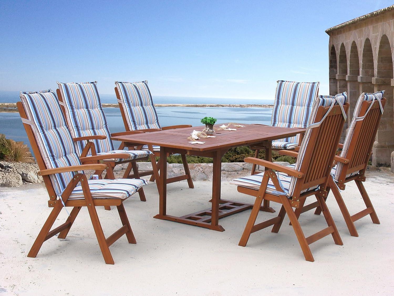 Garten Möbelgruppe Cuba 13tlg Marine mit ausziehbaren Tisch