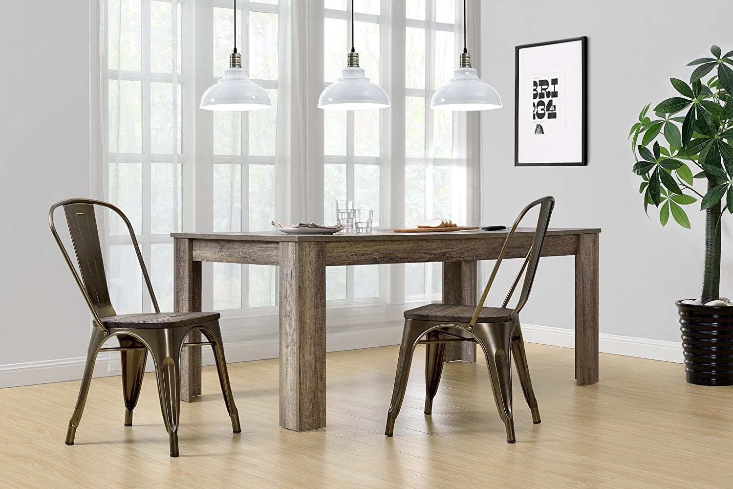 Amazon.com: DHP Fusion Metal Dining Chair Wood Seat, Set Two, Antique  Bronze: Kitchen U0026 Dining