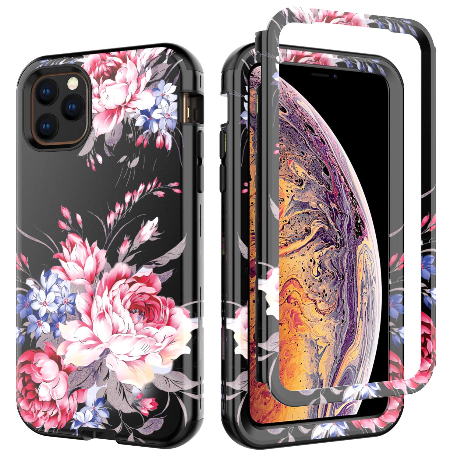 iPhone 11 Pro Max Case, Ranyi Luxury Floral Flower Pattern Full Body Protection 3 in 1 Hybrid Bumper Shock Absorbing High Impact Heavy Duty Defender Case for 2019 6.5 Inch iPhone 11 Pro Max (pink/red) by Ranyi