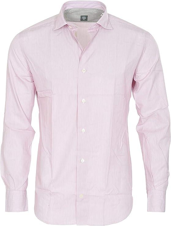 Eleventy Camisa Hombre Rosa Azul Claro algodón Slim Fit De Negocios 45: Amazon.es: Deportes y aire libre