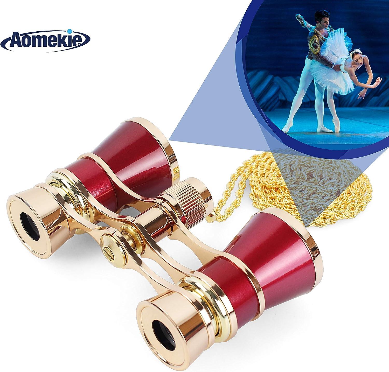 AomekieOperaGlassesBinoculars3X25TheaterGlassesMiniBinocularCompact with Chain forAdultsWomenKidsinMusicalConcert(Red)