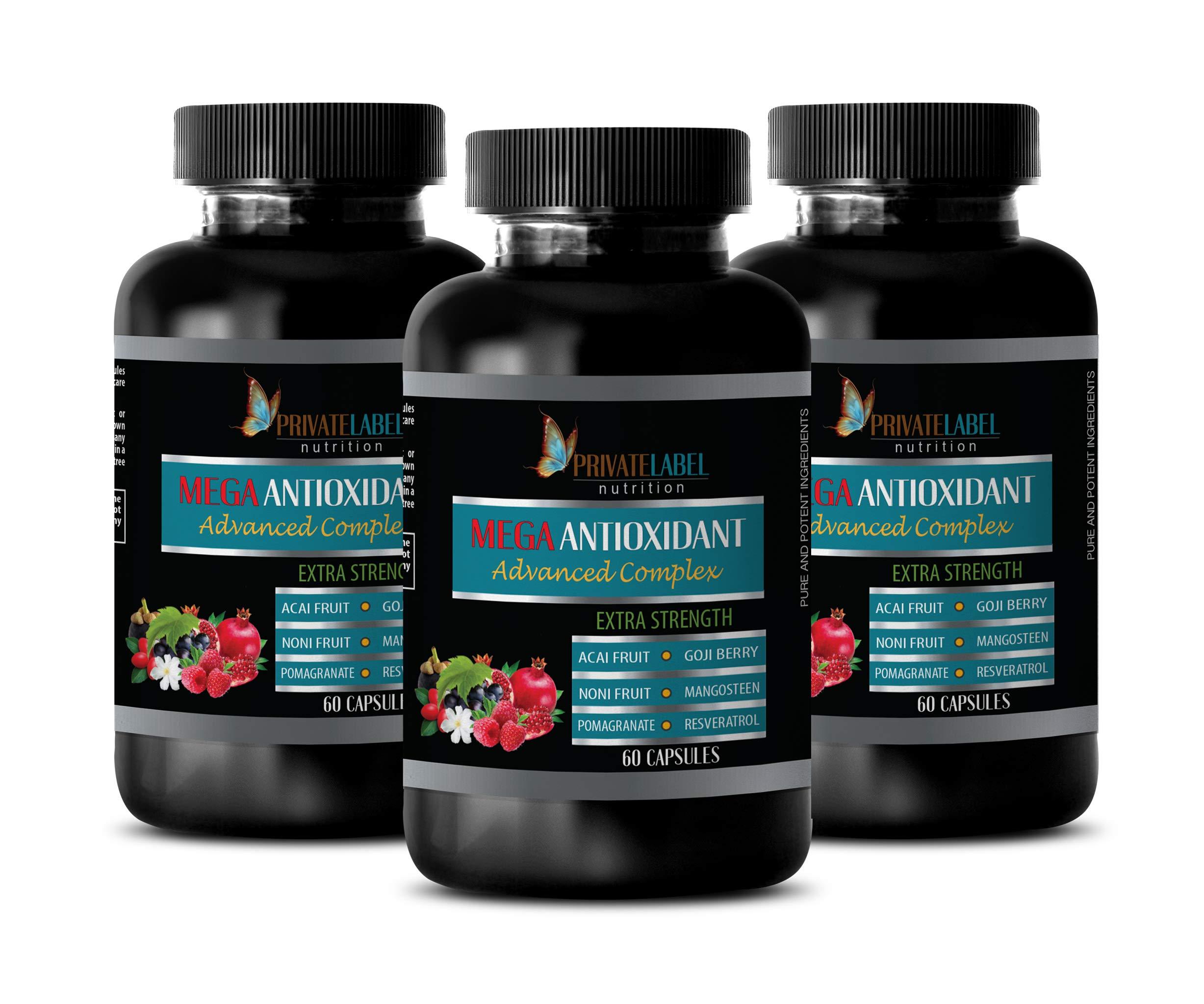antioxidant Supplement for Men - MEGA ANTIOXIDANT Advanced Complex - Extra Strength - Resveratrol Trans Supplement - 3 Bottles 180 Capsules