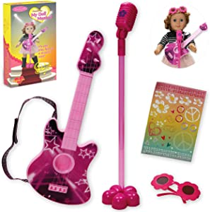 Beverly Hills Doll Collection Guitar Rock N Roll Musical Performance Pretend Playset with Microphone, Personalized Rock-star Stickers and Sunglasses for 18 Inch Dolls
