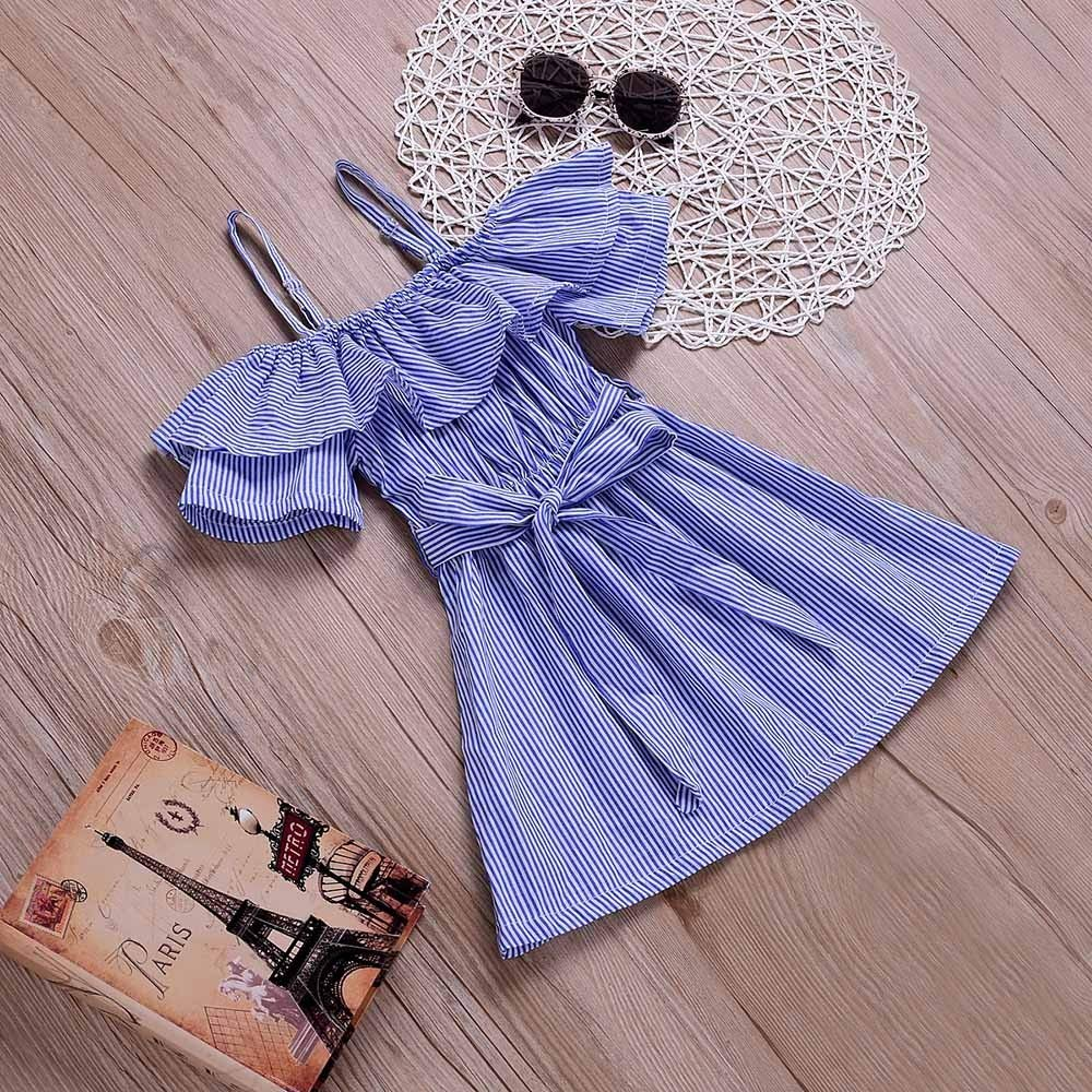 Toddler Infant Kids Baby Girls Striped Print Bowknot Ruffles Off Shoulder Princess Dress Dream Room Dresses