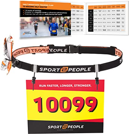 Triathlon Number Belt with Gel Loops Sport2People Ultra Running Race Belt for Runners Reflective Running Gear for Marathon Races