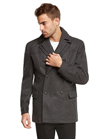 Jack & Jones Men's EURO Slim Fit Wool Peacoat Jacket by Tim Tim Dark ...