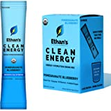 Ethan's Organic Energy Drink Mix, Pomegranate Blueberry Flavor, Clean Caffeine From Green Tea and Guayusa, Energy Powder Pack
