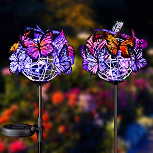 Doingart Outdoor Solar Garden Lights - 2 Pack Solar Powered Garden Stake Lights with 18 Butterflies and Copper String Lights, Multicolor