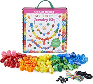 Jewelry Making Kit for Kids - Kid Made Modern My First Jewelry Kit - Bead Lacing Activity Set for Kids Ages 3 and Up