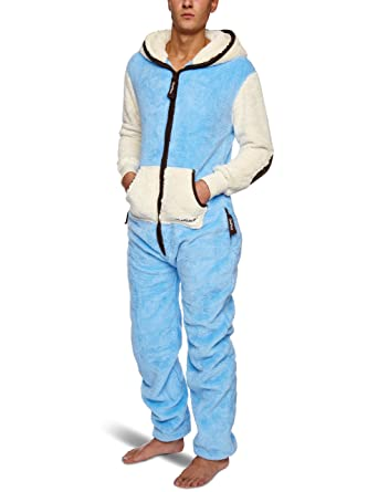 c28b2a79c886 OnePiece Teddy Fleece Unisex Onesie Jumpsuit Light Blue X Small ...