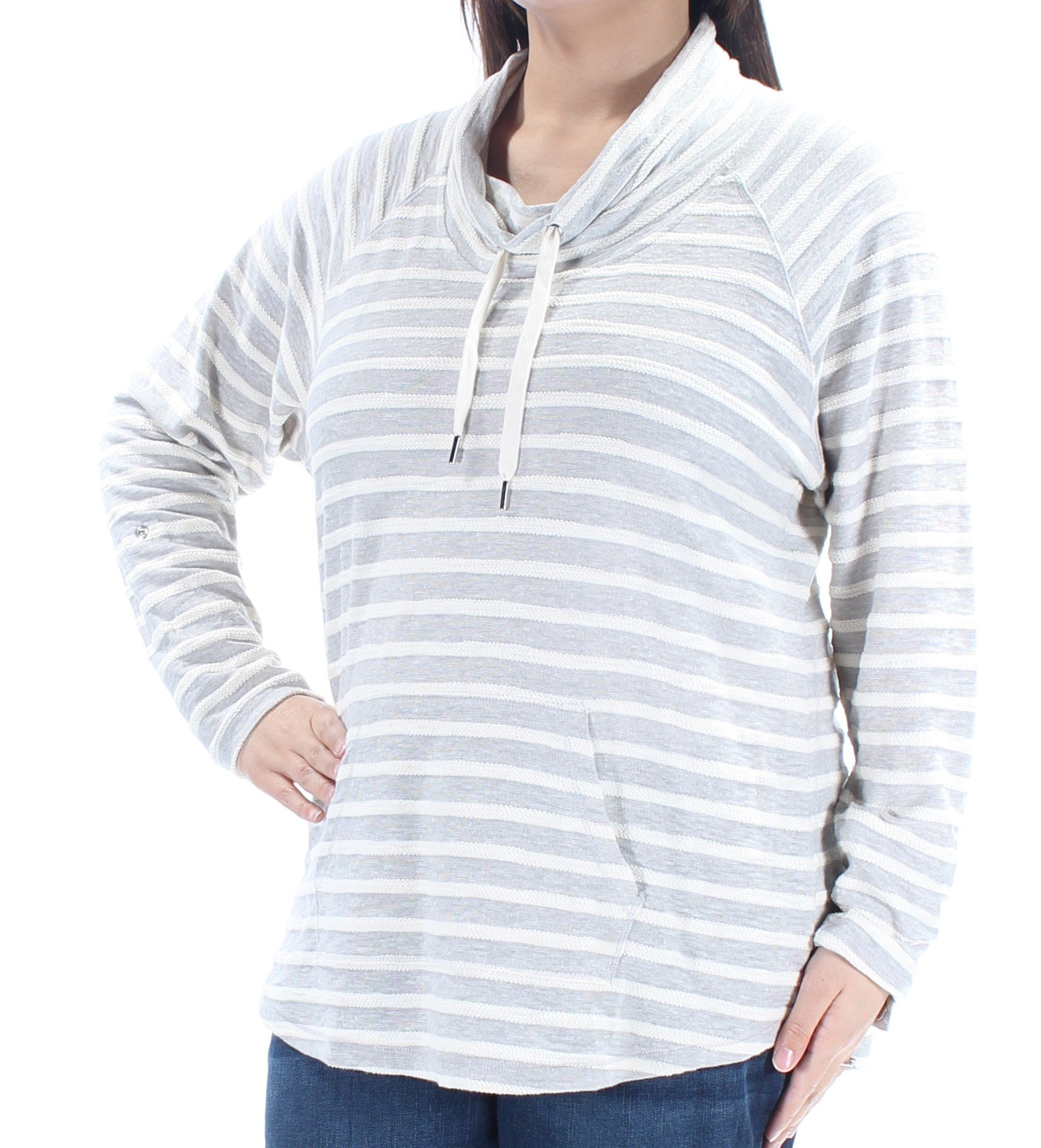 Style & Co. Womens Plus Striped Cowl Neck Sweatshirt Gray 1X by Style & Co.
